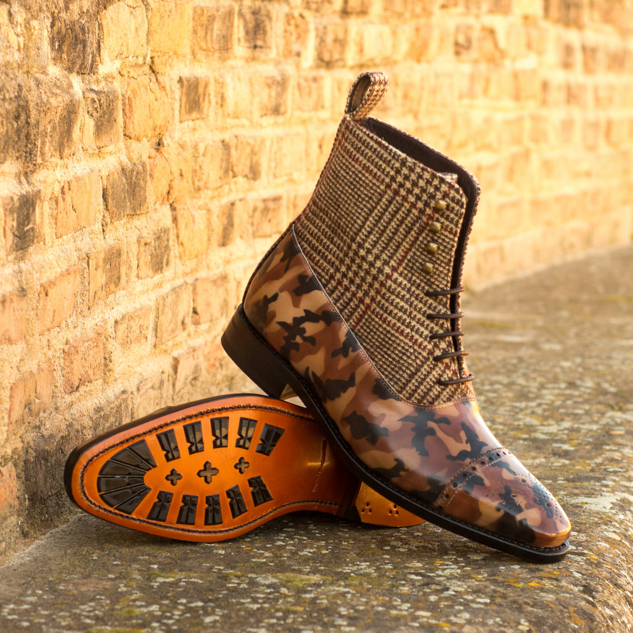 Balmoral boot tweed sartorial + brown camo patina : 370€