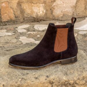 Chelsea boot black lux suede + dark brown painted full grain : 260€