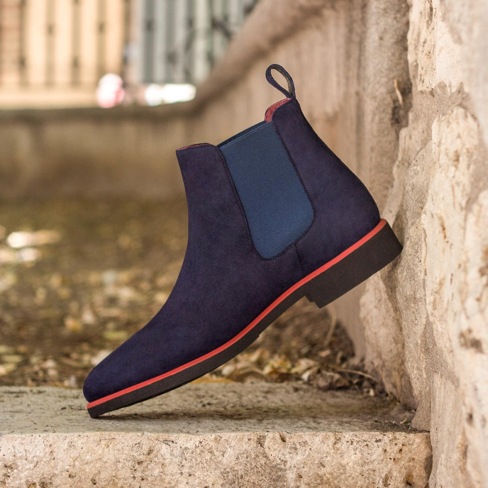 Chelsea boot navy kid suede : 250€