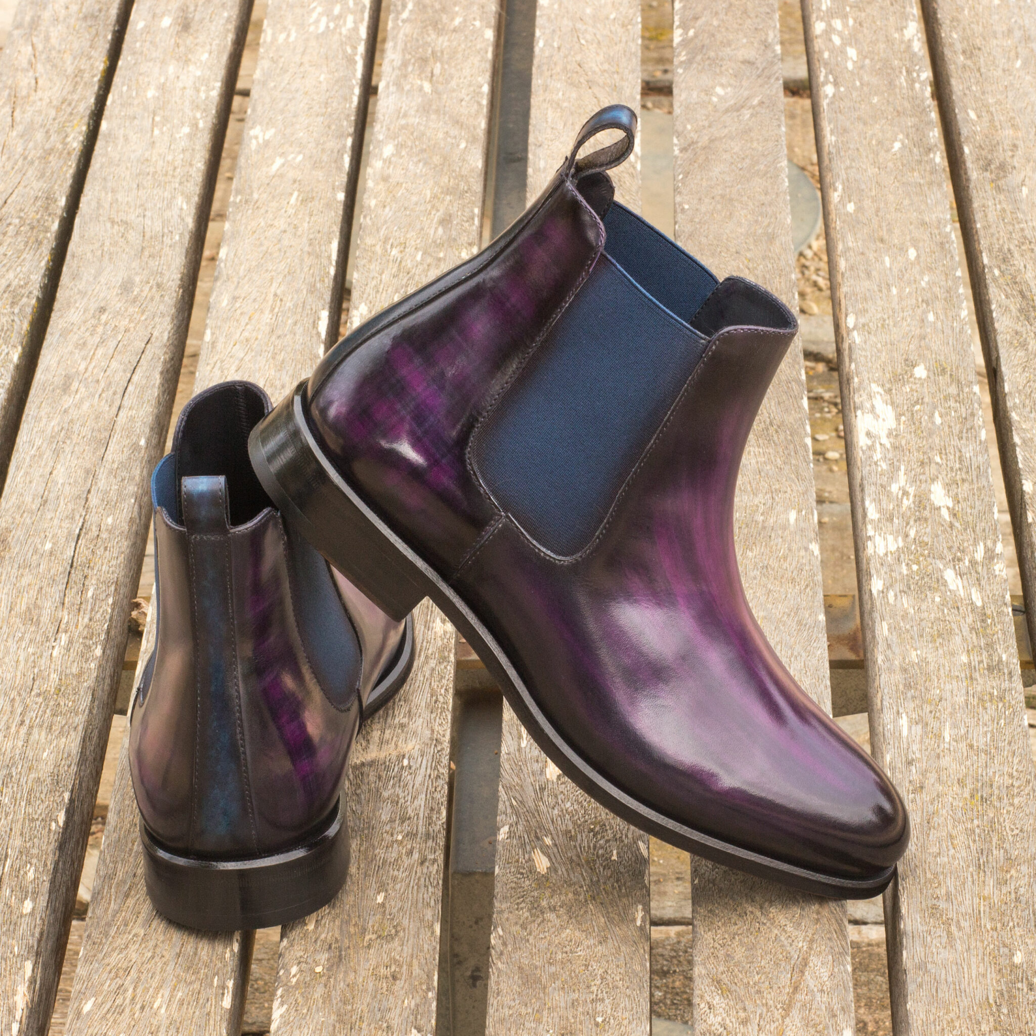 Chelsea boot  purple crust patina + denim crust patina : 360€