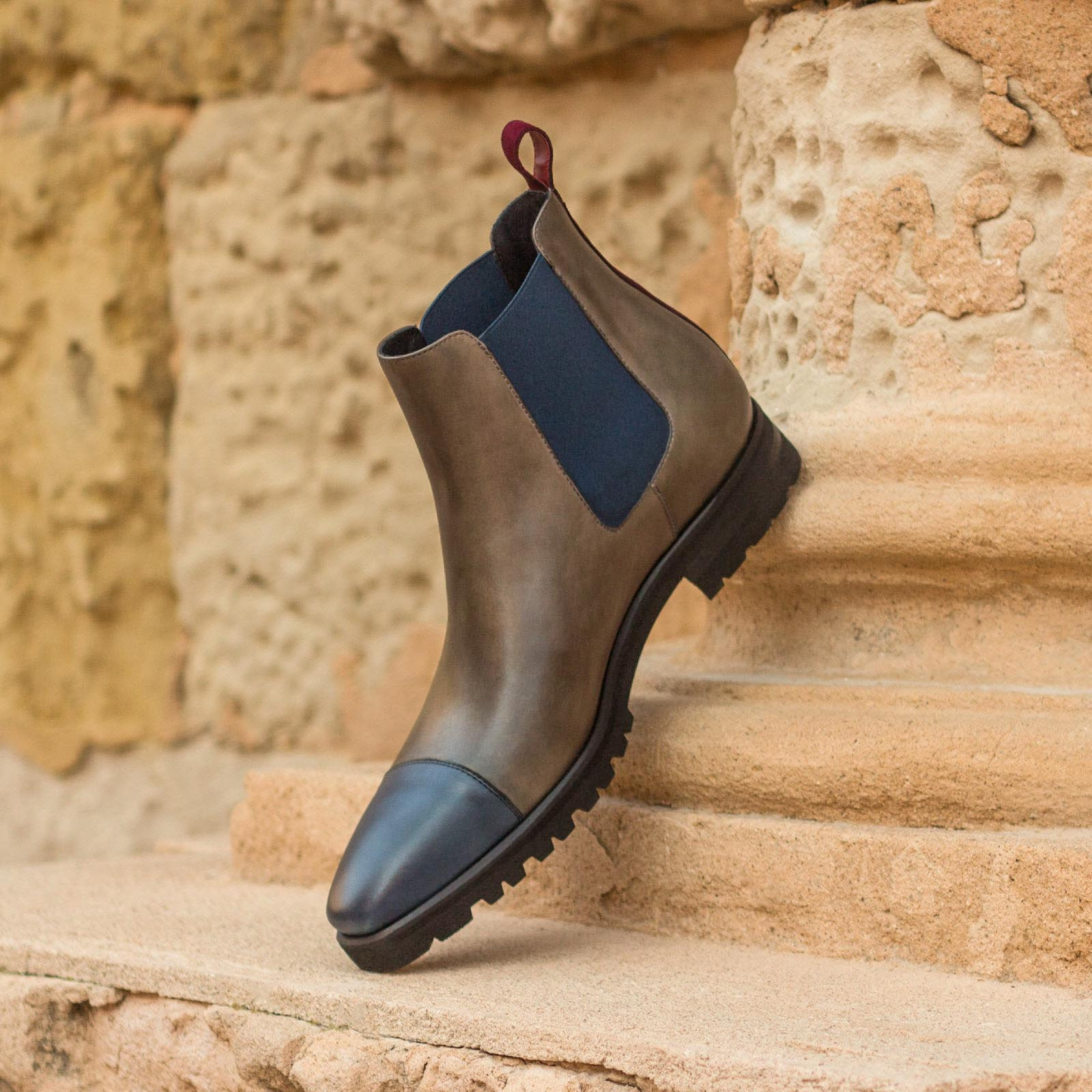 Chelsea boot grey painted calf + navy painted calf + wine kid suede : 250€