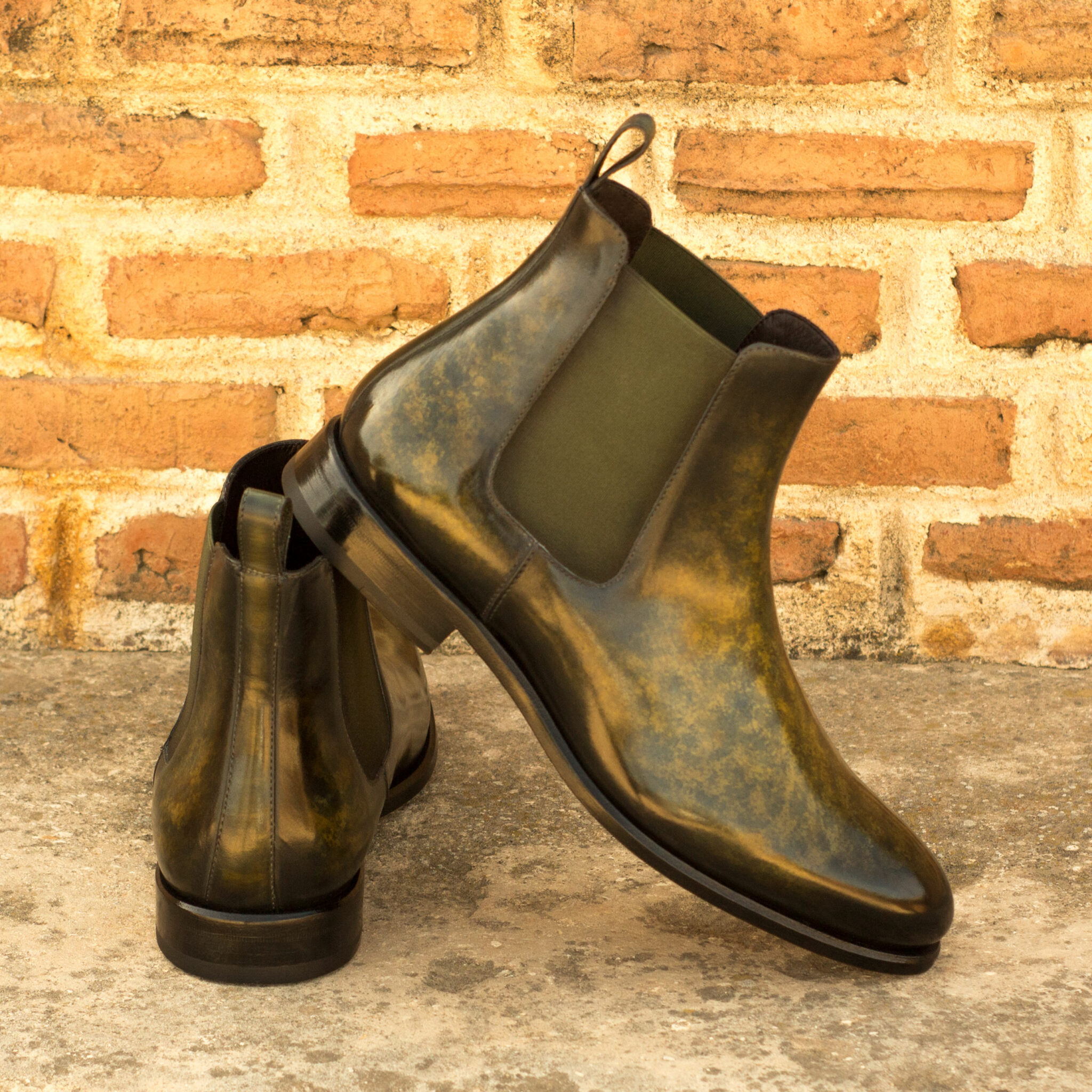 Chelsea boot khaki crust patina : 360€