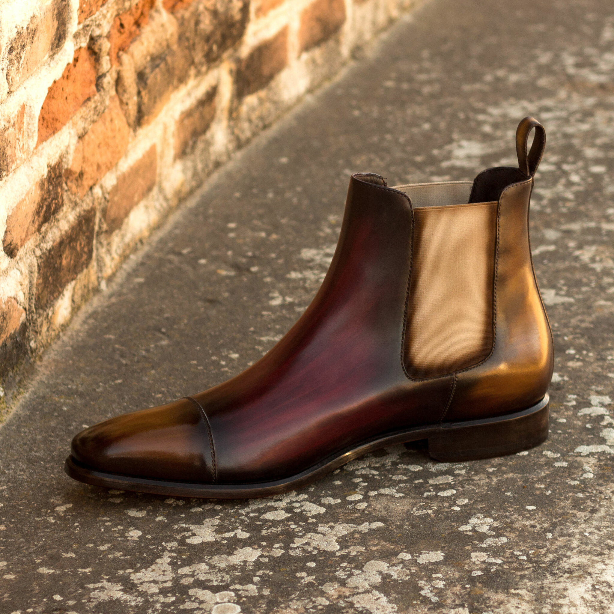 Chelsea boot  cognac crust patina + burgundy crust patina : 360€