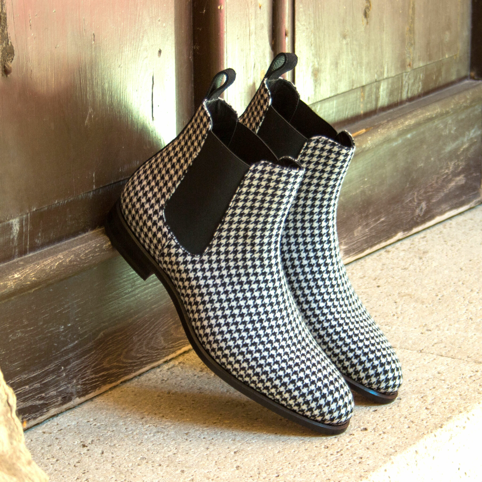 Chelsea boot houndstooth sartorial + black lux suede : 295