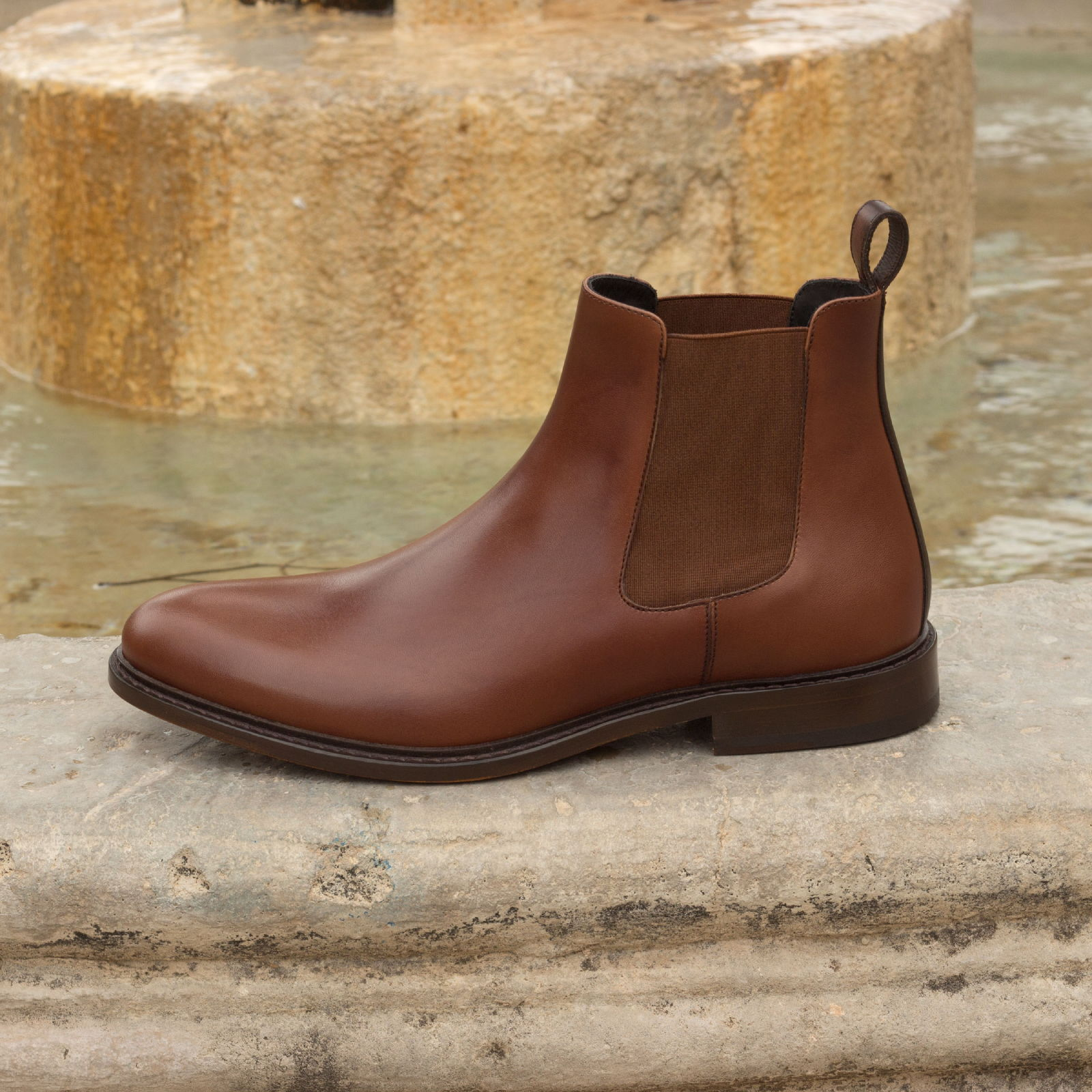 Chelsea boot med brown painted calf + dark brown painted calf : 250€