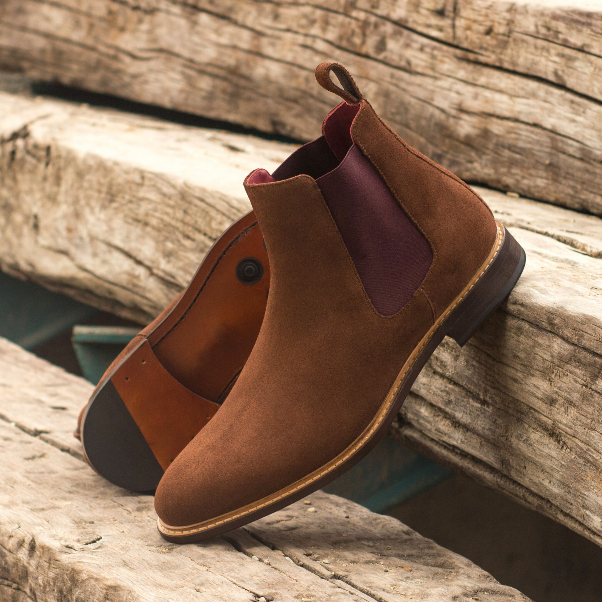 Chelsea boot med brown lux suede : 250€
