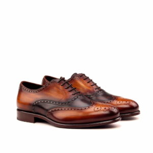 Materials: dark brown painted calf + cognac crust patina