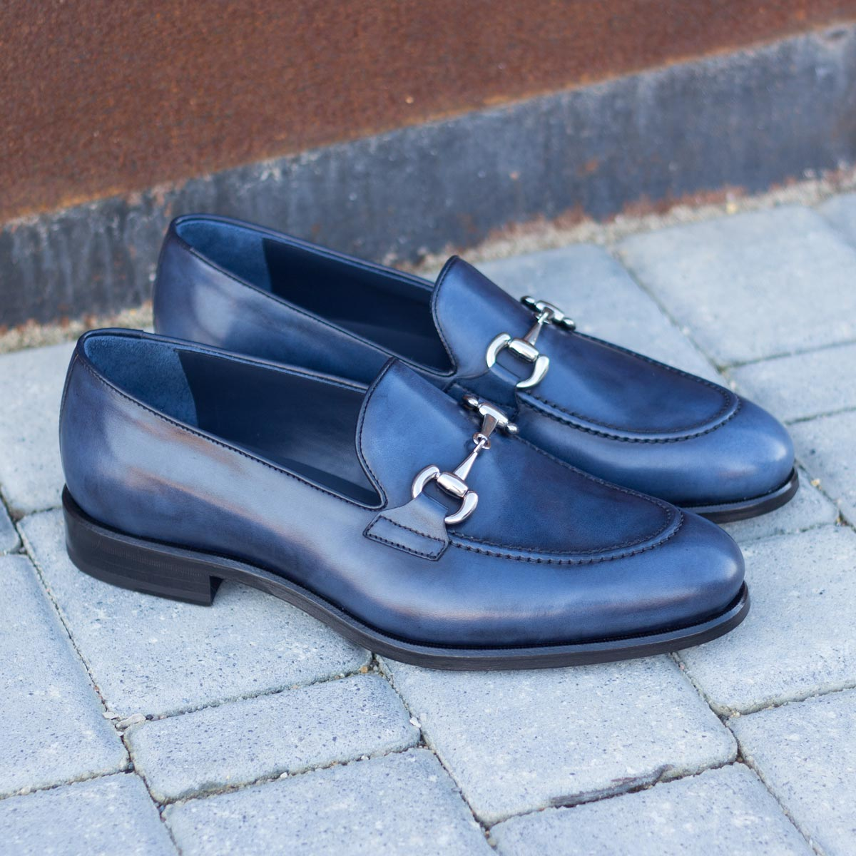 Loafer navy box calf + navy painted calf : 240€