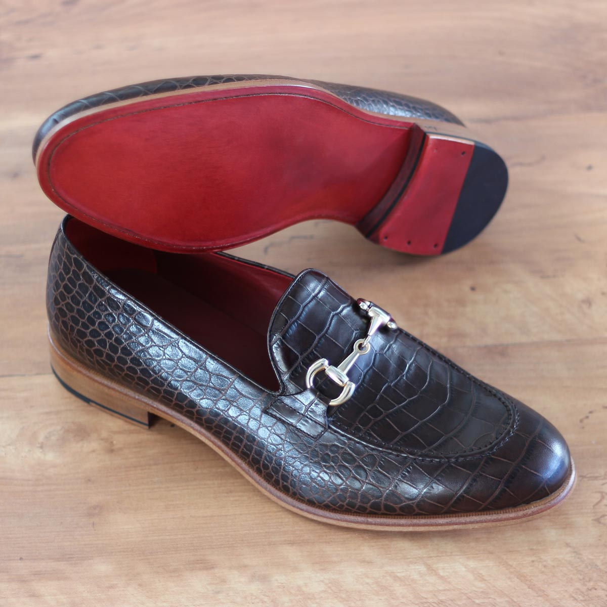 Loafer croco brown + burgundy box calf + cognac box calf : 240€