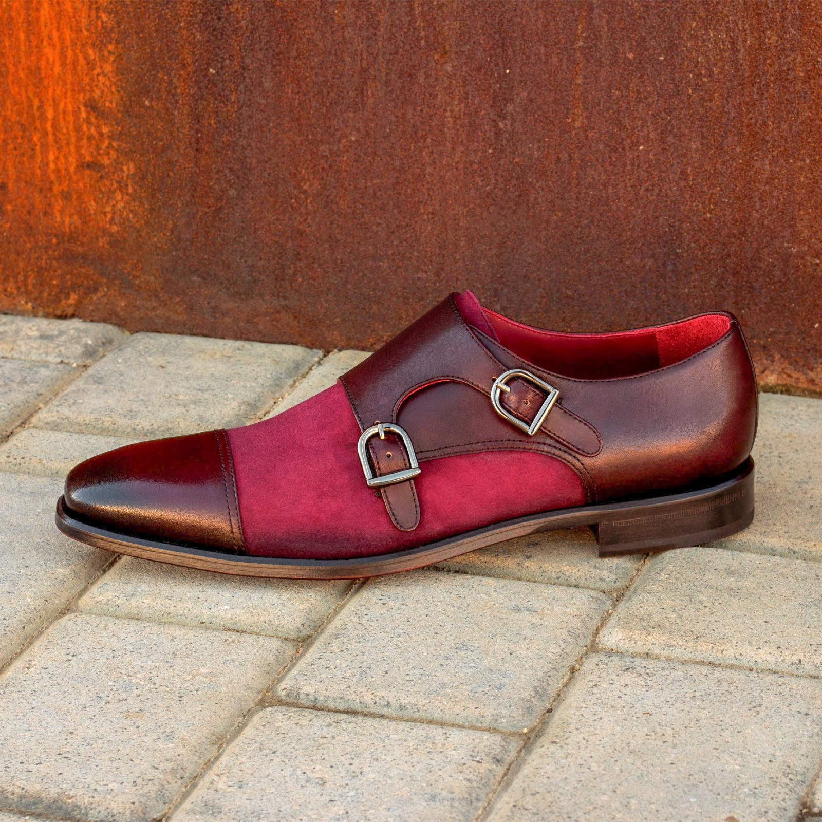 Double monk wine kid suede + burgundy painted calf : 240€