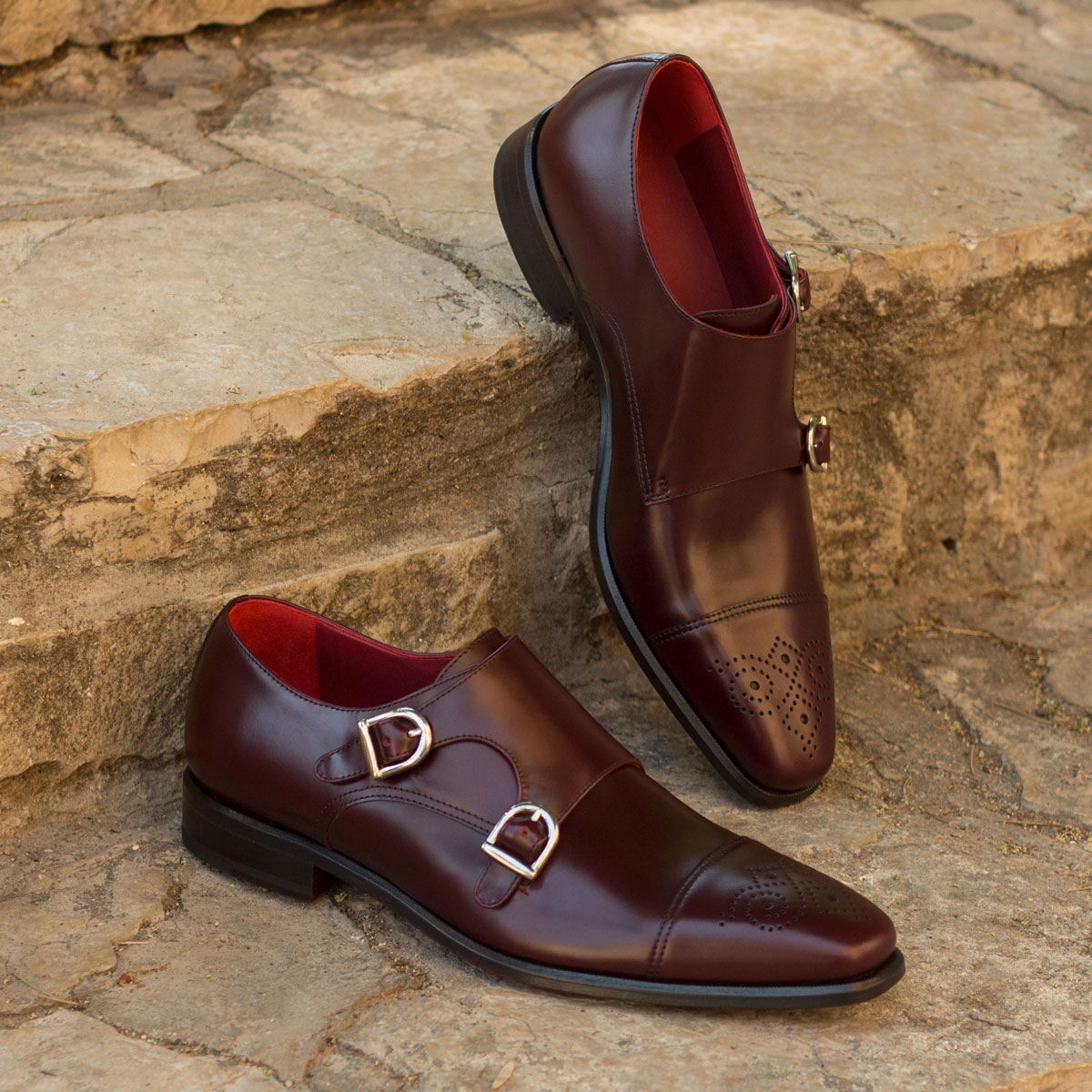 Double monk  burgundy polished calf : 240€